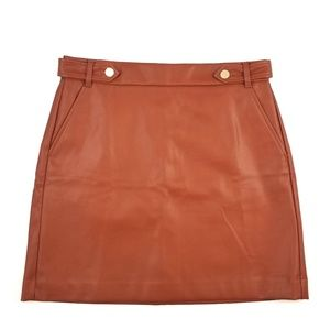 NWT LOFT Brown Faux Leather Mini Skirt Size 10